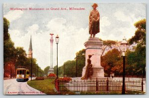 Milwaukee Wisconsin~Grand Avenue Electric Trolley~Washington Monument~1911 Kropp