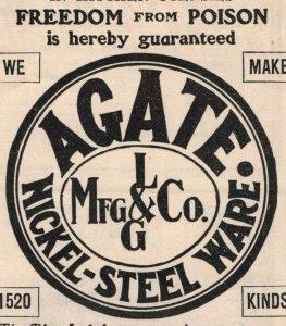 1903 Agate Nickel-Steel Original Print Ad 2T1-47