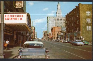 Iowa ~ Third Street looking East, DAVENPORT with 1950s cars - 1950s-1970s