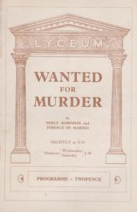 Wanted For Murder London Lyceum Mystery Patricia Wood Theatre Programme