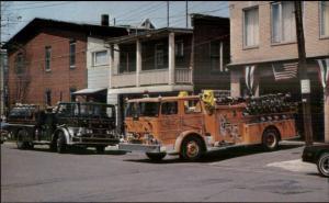 Mt. Carmel PA Fire Dept Trucks etc Postcard