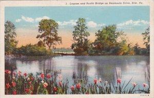 Pennsylvania Erie Lagoon And Rustic Bridge On Peninsula Drive