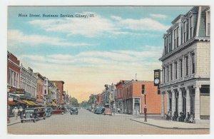 P2075, vintage postcard old cars signs clock etc main street olney ILL unused