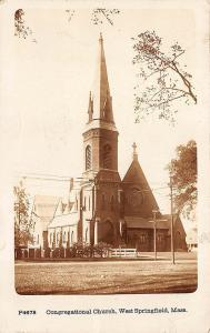 West Springfield MA Congregational Church Underwood & Underwood RPPC Postcard