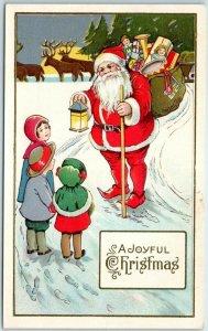 1910s STECHER 55B Christmas SANTA CLAUS Postcard Red Suit Toys Lantern Children