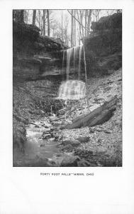 Hiram Ohio~Forty Foot Falls~Waterfall Back in the Woods~1908 B&W Postcard
