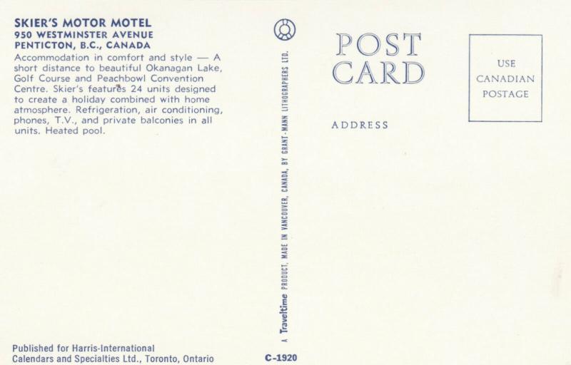 PENTICTON , British Columbia , 50-60s ; Skier's Motor Motel