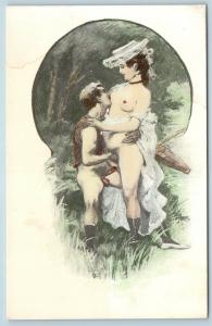 Postcard French Risque Man Woman Nude Cartoon Love On Shore Q16
