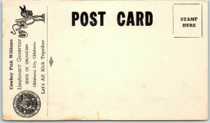 1950s Oklahoma Political Postcard COWBOY PINK WILLIAMS Lieutenant Governor