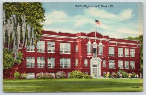 Ocala Florida~High School~Flag on Roof~Students Walk in Front~1940s Postcard