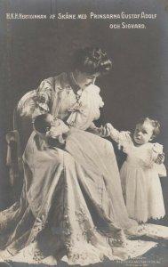 RP, SWEDEN, 1907; Princess Margaret with children Princes Gustaf Adolf & Sigvard