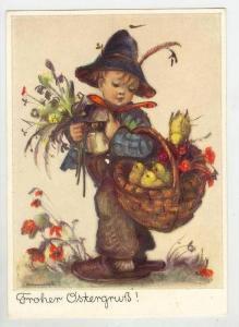 Boy carries basket of chicks, HUMMEL< PU-1977