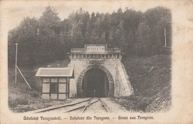 AK Gruss aus Romania 1918 Comuna Teregova Caraș-Severin train tunnel