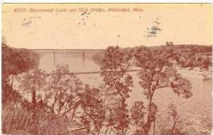 Aerial View, Government Locks & High Bridge, Mississippi, Minnnesota, PU-1914