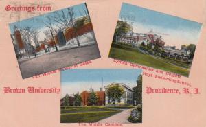 PROVIDENCE , Rhode Island , PU-1915 ; Greetings from Brown University, 3-views