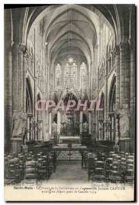 Postcard Old Saint Malo The Choir of the Cathedral or knelt Jacques Cartier