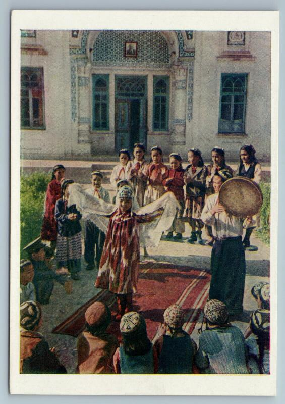 1957 Kyrgyz Kyrgyzstan FOLK Ethnic DANCE in KOLKHOZ Russian Soviet Postcard