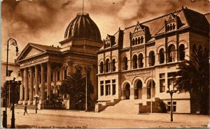 Vtg Postcard c 1908 Hall Of Records and Court House San Jose, CA Sepia Toned