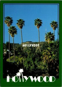 Vintage Postcard Hollywood California sign Palm trees 1986 unposted