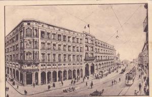 Scene w/ Trolley & Grand Hotel de la Ville de Paris,Strasbourg, France, 1900-10s