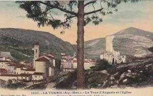 LA TURBIE, La Tour d'Auguste et l'Eglise, Ruines Romaines, Alpes Maritimes, F...