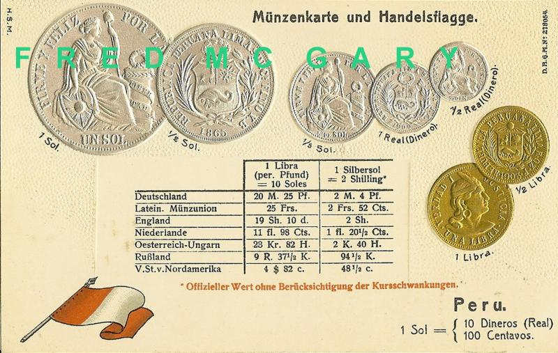 1904 Numismatic PC for Peru: 7 Coins & Exchange Rates