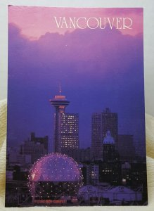 Aerial View Dusk Vancouver Canada Vintage Postcard