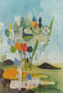 Vangel Namovski Small Island In The Midst Of Flowers Painting Postcard
