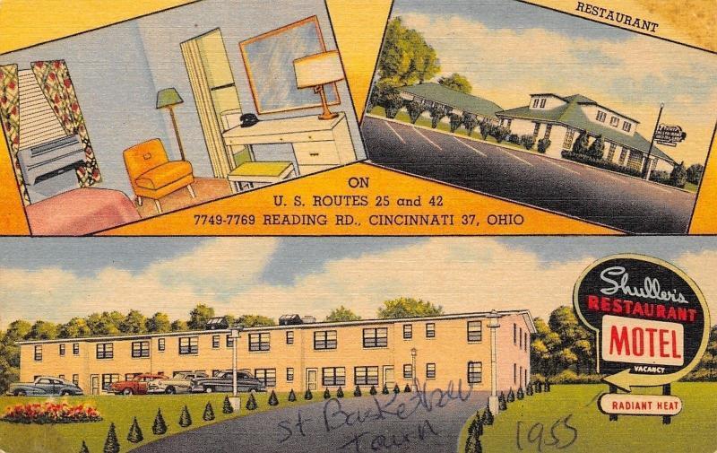 Cincinnati Ohio~Shuller's Motel & Restaurant~Art Deco Room~1953 Linen Postcard