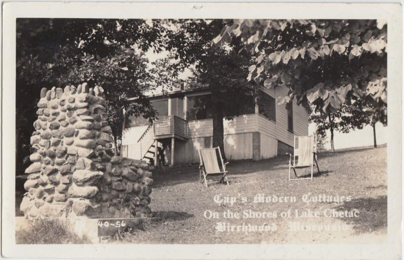 Wisconsin Wi Real Photo RPPC Postcard 1941 BIRCHWOOD Lake Chetac CAPS COTTAGES