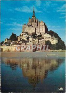 Modern Postcard Mont Saint Michel reflection of Mount