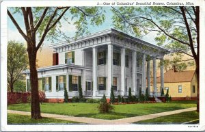 Columbus Mississippi Postcard 1920s One of Columbus Beautiful Homes MV