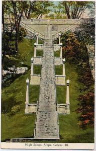 The High School Steps - Galena, Jo Daviess County IL, Illinois - pm 1933
