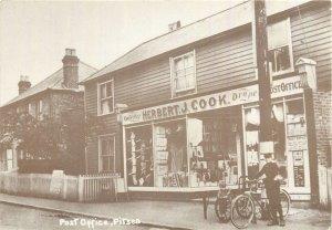 Postcard United Kingdom herbert j cook's drapers shop and post office telegraph