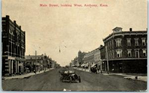 Anthony, Kansas Postcard Main Street Looking West Downtown Car / Stores 1913