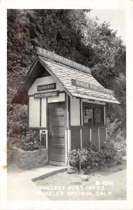 RPPC Postcard; Smallest Post Office, Wheeler Springs CA B-1041 Ventura County