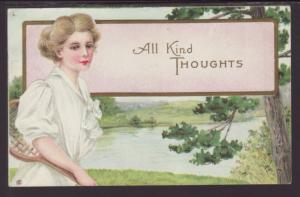 All Kind Thoughts,Woman,Scene Postcard