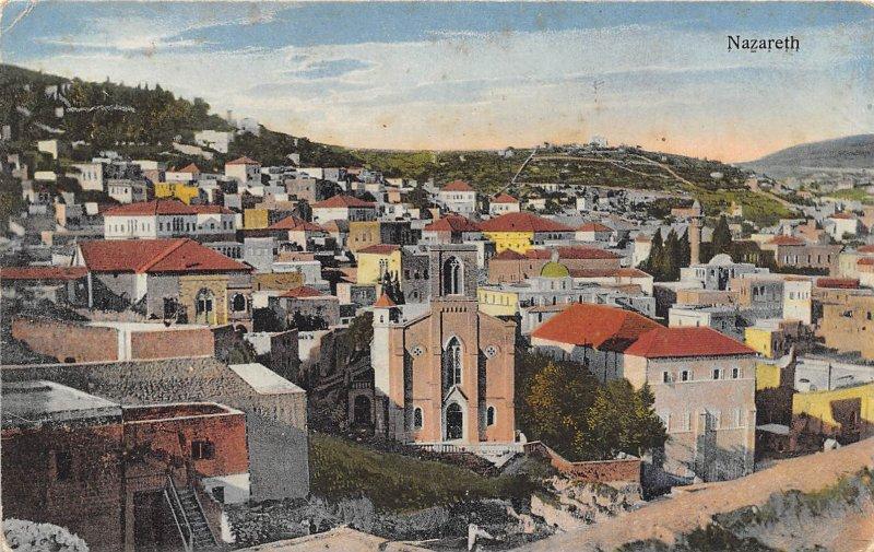 Panorama Nazareth Palestine 1910c postcard