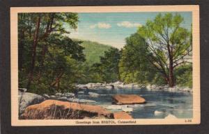 CT Greetings From Bristol Connecticut Postcard Linen PC, Conn Carte Postale