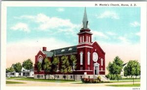 HURON, South Dakota  SD    ST. MARTIN'S CHURCH  ca 1930s-40s  Linen   Postcard