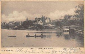 H27/ Oakland California Postcard 1906 Lake Merrit Homes Boating Dock