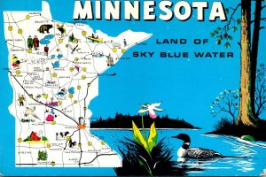 Minnesota Map Of The Land Of Sky Blue Water