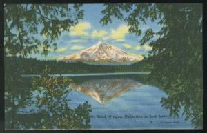 OR Mt Hood Oregon Reflection in Lost Lake Vintage Linen Unused Postcard