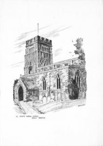Postcard Art Sketch EARLS BARTON Northamptonshire All Saints Parish Church