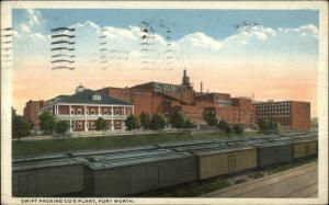 Ft. Fort Worth TX Swift Packing Co Plant 1917 Used Postcard TRAIN CARS