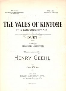Londonderry The Vales Of Kintore Olde Irish Sheet Music