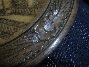 Great wooden souvenir plate plaque Dubrovnik Castle approx 8½ ins wide