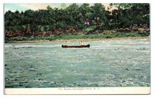 1909 Canoeing the Rapids at Dunsbacks Ferry, NY Postcard