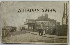 Real Photo Postcard Happy XMAS London Railway Station Willesden Junction London