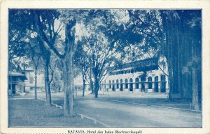 Postcard Batavia Hotel Des Indes Rechtervleugel Indonesia Blue Dutch East indies